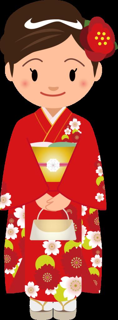 商用フリー・無料イラスト_赤い着物を着た女性_kimono001