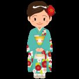 商用フリー・無料イラスト_緑の着物を着た女性_kimono002-2