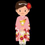 商用フリー・無料イラスト_ピンクの着物を着た女性_kimono003-2