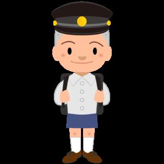 商用フリー・無料イラスト_黒い学制帽をかぶったぼうず頭の男の子_otokonoko002