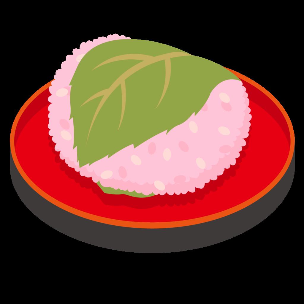 商用フリー・無料イラスト_桜餅(さくらもち)関東風(長命寺)_sakuramochi004