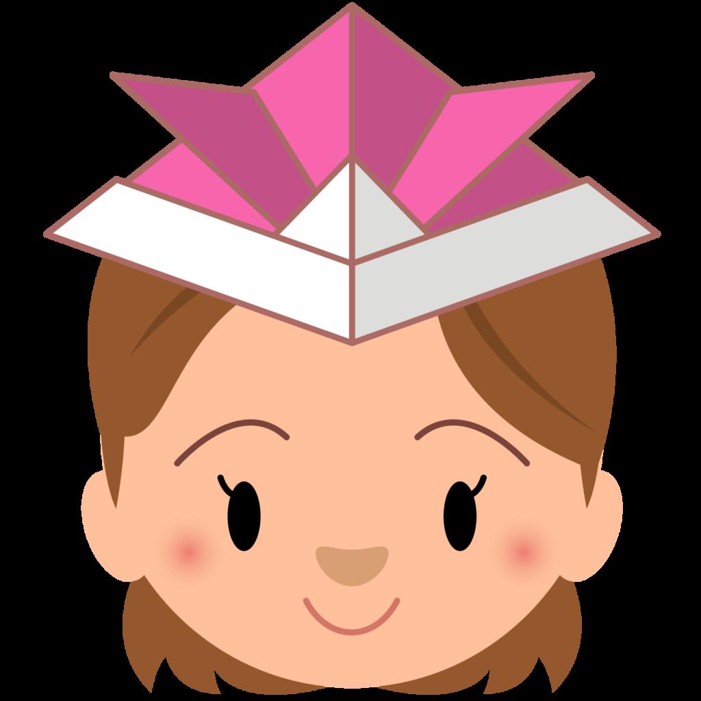 商用フリー・無料イラスト_5月端午の節句_ピンク色の紙のかぶとをかぶる女の子_tangonosekku62