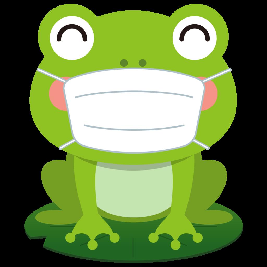 商用フリー・無料イラスト_マスクをしたかえるのイラスト_frog006