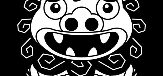 商用フリー・無料イラスト_シーサー(オス)モノクロ_shisa001