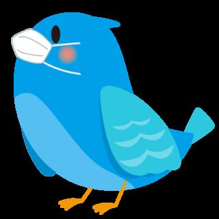 商用フリー・無料イラスト_マスクをした幸せの青い鳥のイラスト_Happy blue bird013