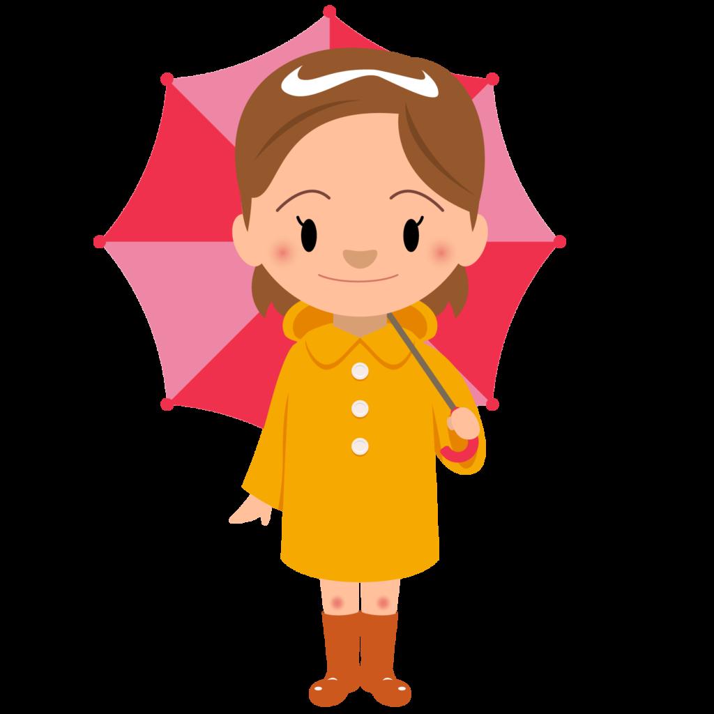 商用フリー・無料イラスト_レインコート・ポンチョの女の子_rainponcho005