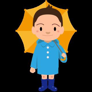 商用フリー・無料イラスト_レインコート・ポンチョの男の子_rainponcho006