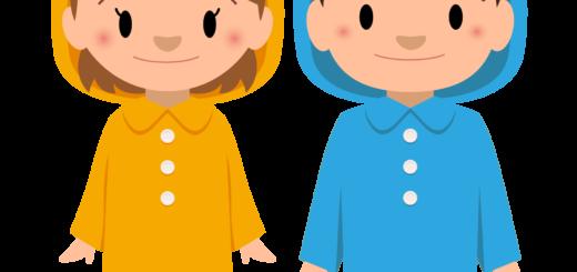 商用フリー・無料イラスト_レインコート・ポンチョの男の子と女の子_rainponcho007