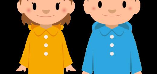 商用フリー・無料イラスト_レインコート・ポンチョの男の子と女の子_rainponcho008