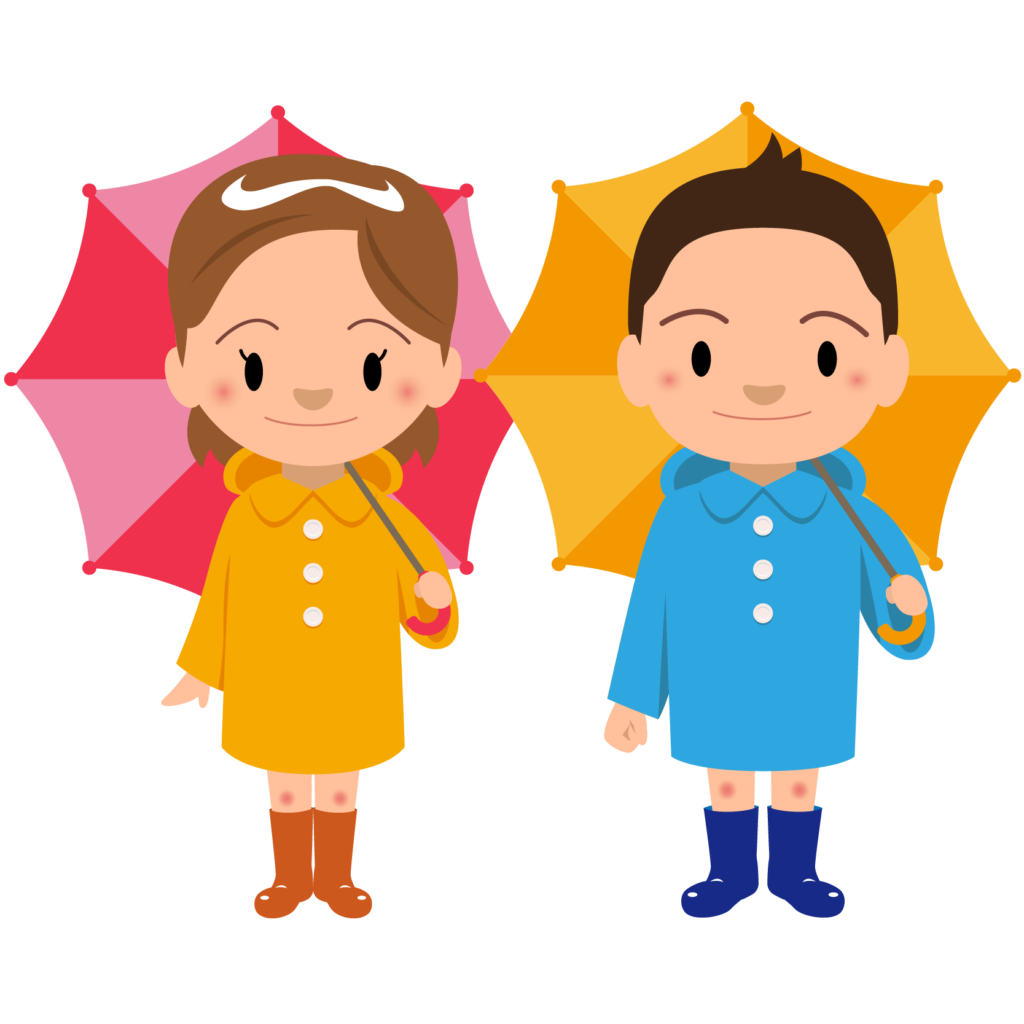商用フリー・無料イラスト_レインコート・ポンチョの男の子と女の子_rainponcho009