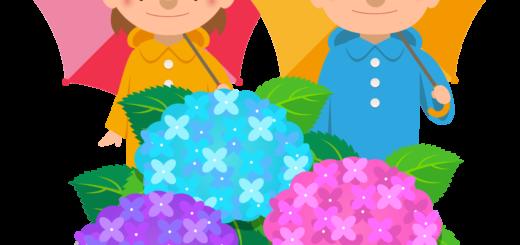 商用フリー・無料イラスト_レインコート・ポンチョの男の子と女の子とあじさい_rainponcho010