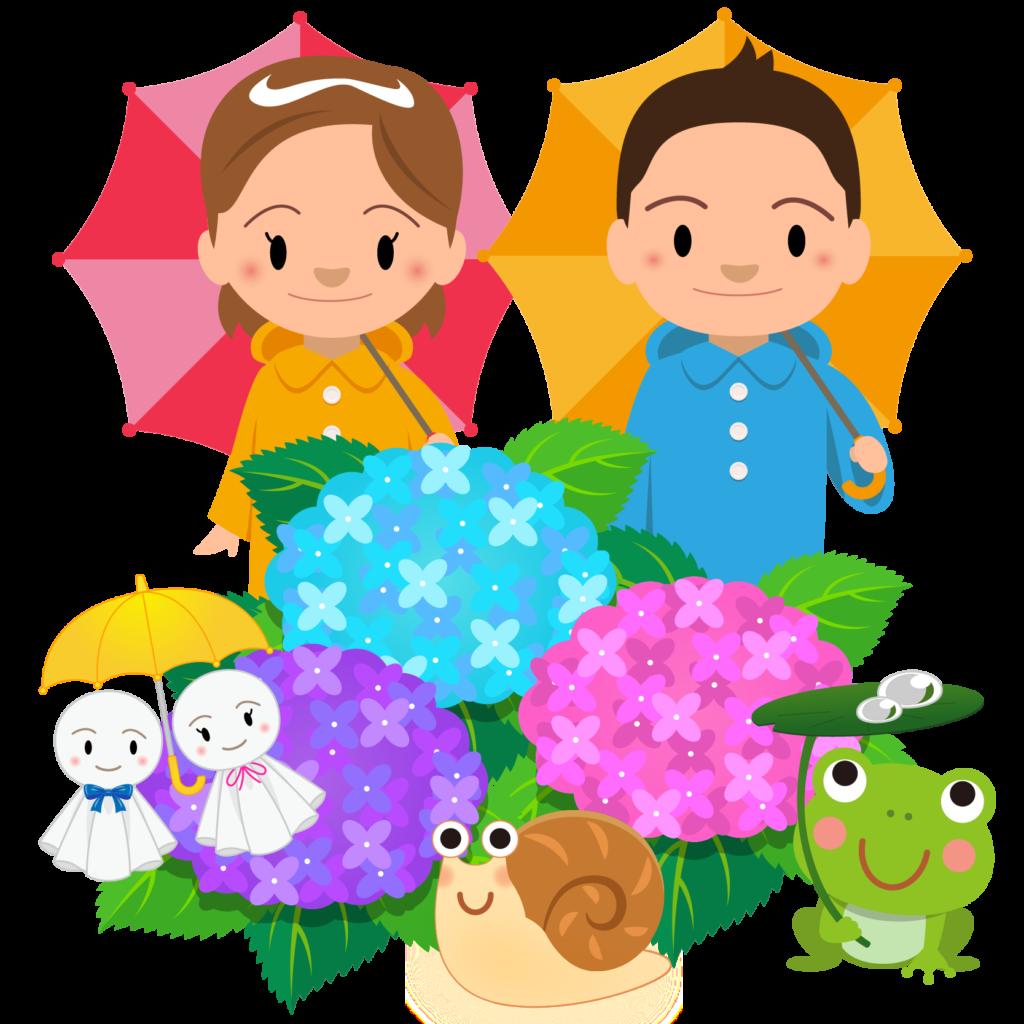 商用フリー・無料イラスト_レインコート・ポンチョの男の子と女の子とあじさい_rainponcho011