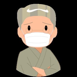 商用フリー・無料イラスト_マスクをしているシニア男性_sick009