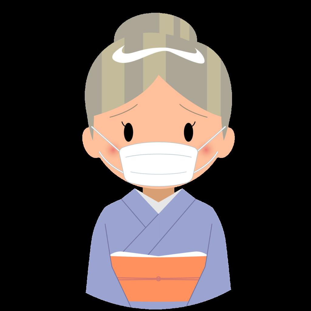 商用フリー・無料イラスト_マスクをしているシニア男性_sick010