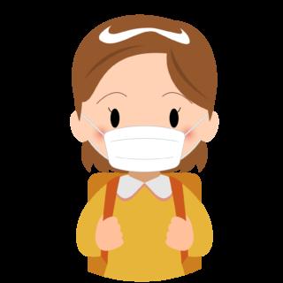商用フリー・無料イラスト_マスクをしている小学生の女の子_sick011