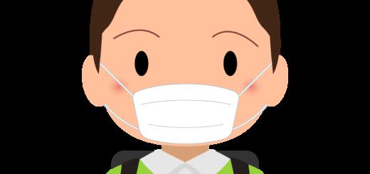 商用フリー・無料イラスト_マスクをしている小学生の男の子_sick012