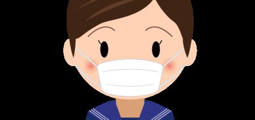 商用フリー・無料イラスト_マスクをしているセーラー服の女の子_sick013