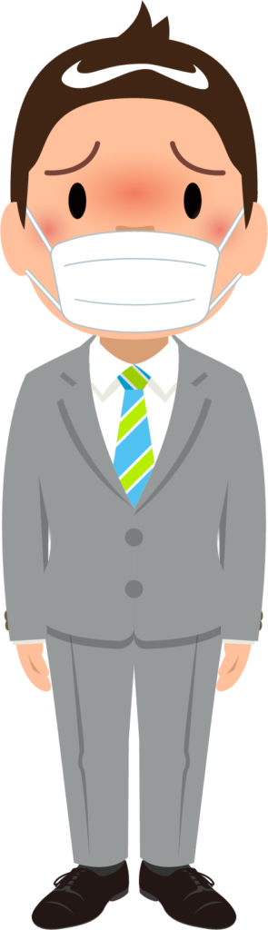 商用フリー・無料イラスト_マスクをしているスーツ姿の男性_sick015