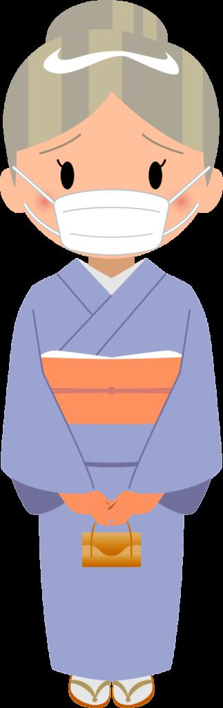 商用フリー・無料イラスト_マスクをしているシニア女性_sick018