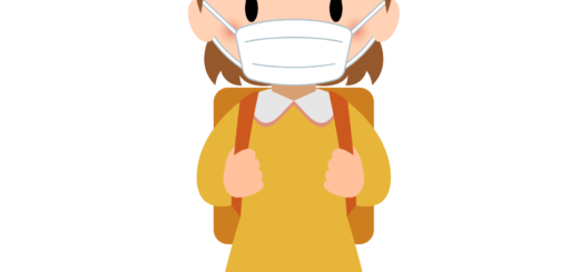 商用フリー・無料イラスト_マスクをしている小学生の女の子_sick019