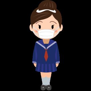 商用フリー・無料イラスト_マスクをしているセーラー服の女の子_sick021