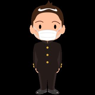 商用フリー・無料イラスト_マスクをしている学生服の男の子_sick022