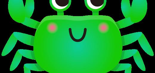 商用フリー・無料イラスト_緑色のかに(蟹)のイラスト_crab005