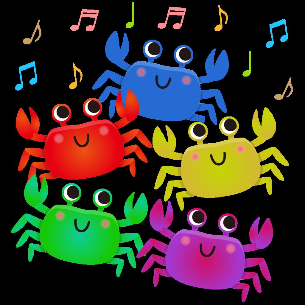商用フリー・無料イラスト_楽しそうに歌うかにのイラスト_crab006