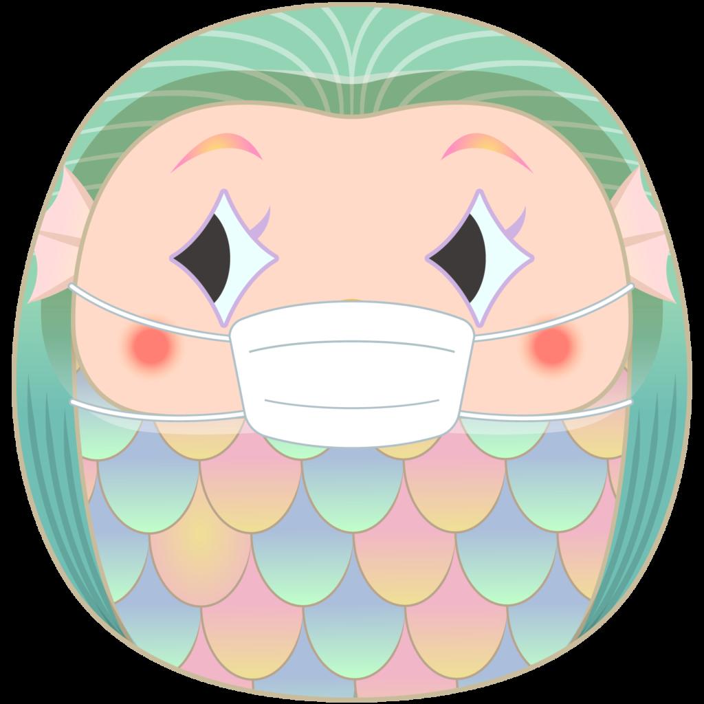 商用フリー・無料イラスト_疫病退散妖怪_マスクをしただるまアマビエ_amabie012