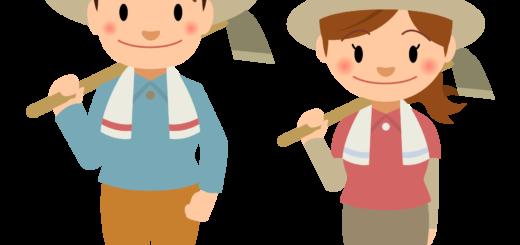 商用フリー・無料イラスト_農業_くわを持つ若い男女nogyo010