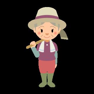 商用フリー・無料イラスト_農業_くわを持つシニア女性nogyo012