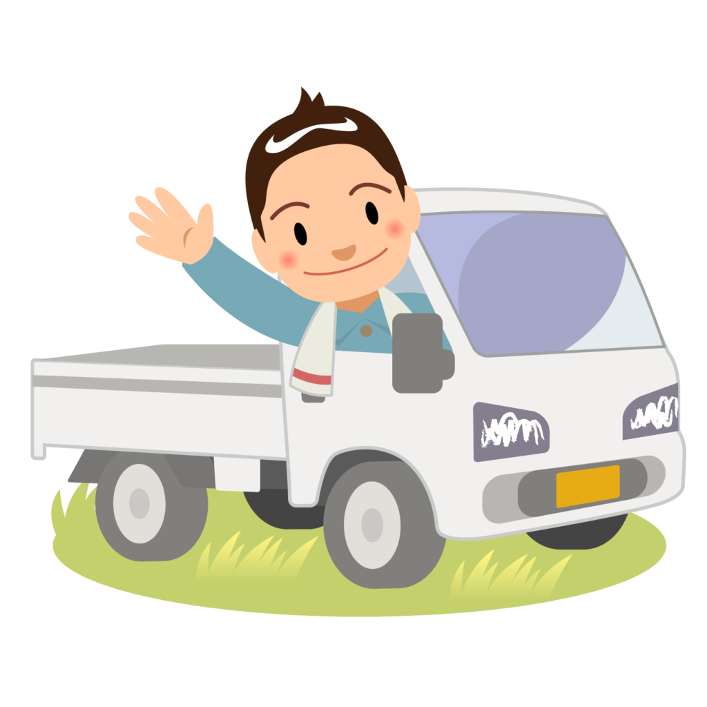 商用フリー・無料イラスト_軽トラックに乗り手を振る男性nogyo021