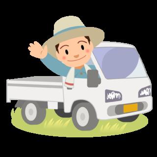 商用フリー・無料イラスト_軽トラックに乗り手を振る男性nogyo022