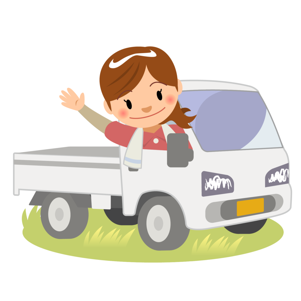 商用フリー・無料イラスト_軽トラックに乗り手を振る女性nogyo023