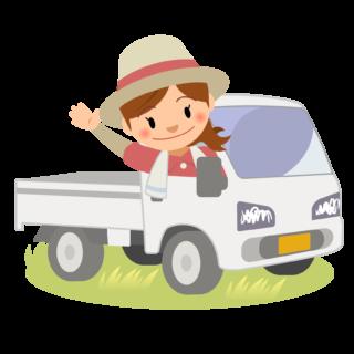 商用フリー・無料イラスト_軽トラックに乗り手を振る女性nogyo024