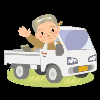 商用フリー・無料イラスト_軽トラックに乗り手を振るシニア男性nogyo025