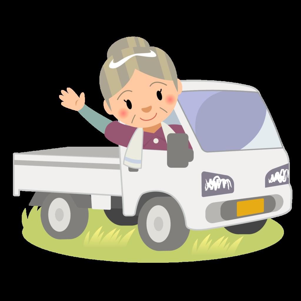 商用フリー・無料イラスト_軽トラックに乗り手を振るシニア女性nogyo027