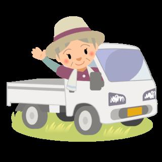 商用フリー・無料イラスト_軽トラックに乗り手を振るシニア女性nogyo028