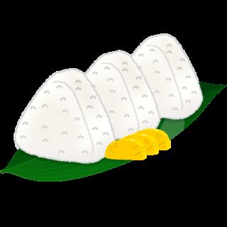 商用フリー無料イラスト_笹の葉に乗せたおにぎり・おむすび_onigiri021