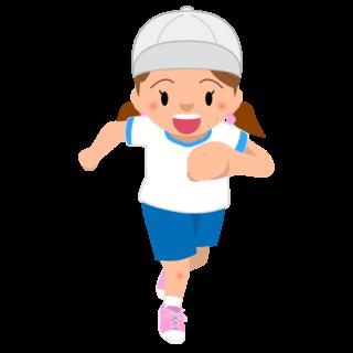 商用フリー・無料イラスト_体操服でかけっこをする女の子_onnanoko002