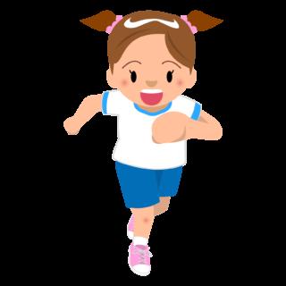 商用フリー・無料イラスト_体操服でかけっこをする女の子_onnanoko003