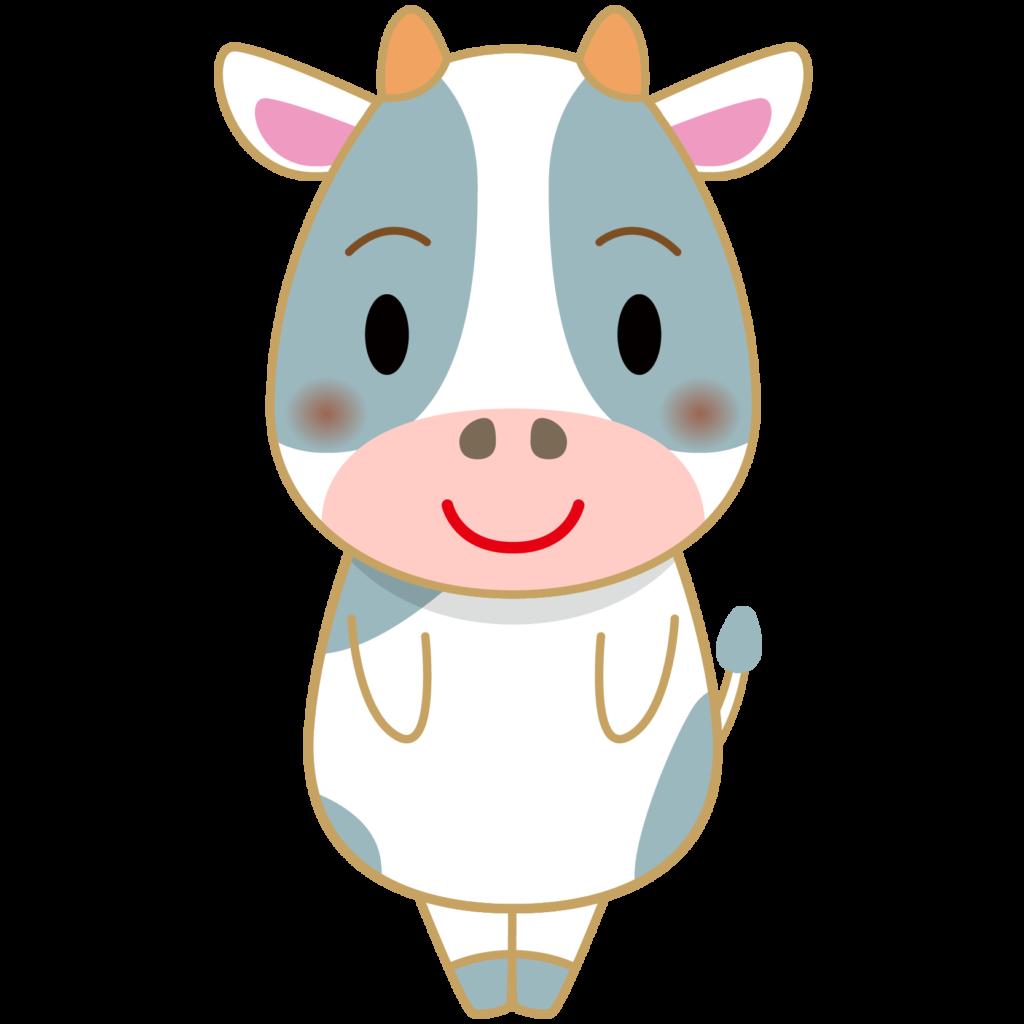 立っている牛のイラストです(ホルスタイン)