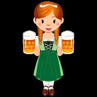商用フリーイラスト_無料_10月_オクトーバーフェスト_ビールを持つ女性_Oktoberfest_019
