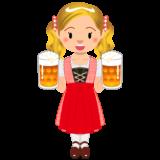 商用フリーイラスト_無料_10月_オクトーバーフェスト_ビールを持つ女性_Oktoberfest_020