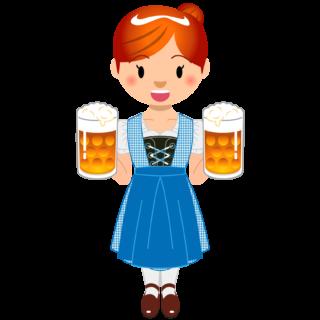 商用フリーイラスト_無料_10月_オクトーバーフェスト_ビールを持つ女性_Oktoberfest_0121