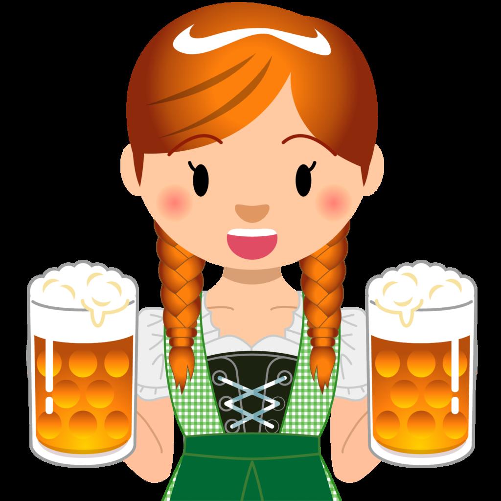 商用フリーイラスト_無料_10月_オクトーバーフェスト_ビールを持つ女性_Oktoberfest_025