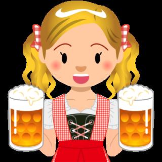商用フリーイラスト_無料_10月_オクトーバーフェスト_ビールを持つ女性_Oktoberfest_026
