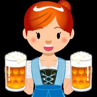 商用フリーイラスト_無料_10月_オクトーバーフェスト_ビールを持つ女性_Oktoberfest_027