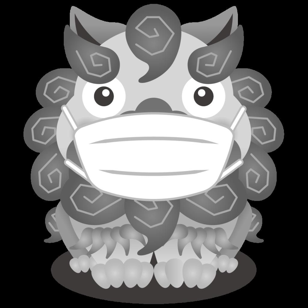 商用フリー・無料イラスト_マスクをしたグレー(無彩色)のシーサー_shisa018