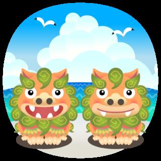 商用フリー・無料イラスト_緑色系のシーサー_shisa022